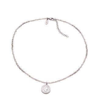 By Shir Ketting kort edelstenen Agaat grijs met muntje edelstaal