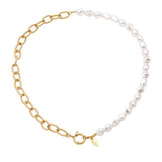 By Shir Ketting parels en chain met luxe sluiting edelstaal 14 verguld