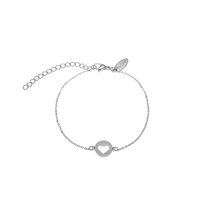 By Shir Armband edelstaal met munt hartje