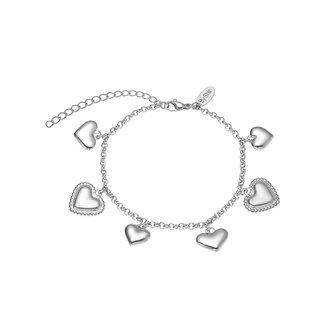 By Shir Armband edelstaal met verschillende hartjes