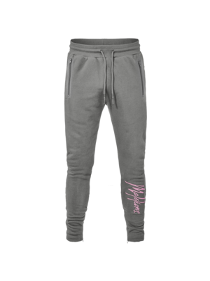 Malelions Signature Trackpants - Matte Grey/Pink