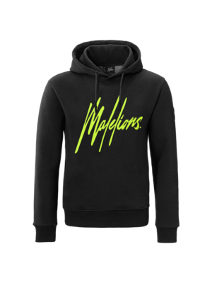 Malelions Hoodie Signature - Black Neon/Yellow