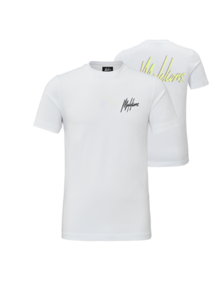 Malelions T-shirt Signature 2.0 - White/Neon Yellow