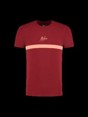 Malelions T-shirt Tonny 2.0  - Bordeaux/Koral