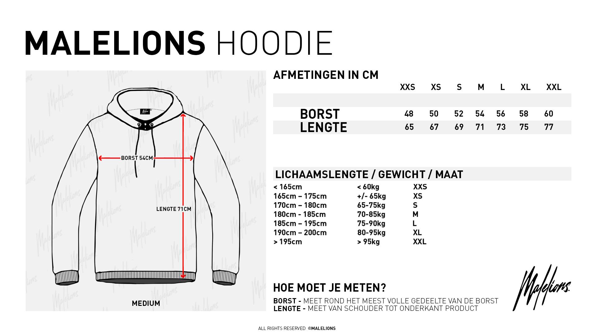 Size Chart Hoodies