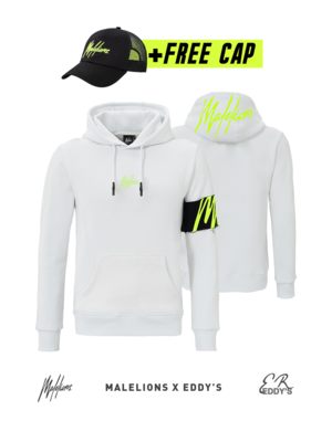 Malelions x Eddy's Malelions x Eddy's Captain Hoodie – White/Neon Yellow