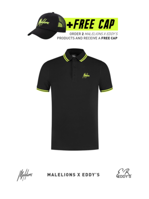 Malelions x Eddy's Malelions x Eddy's Striped Polo – Black/Neon Yellow