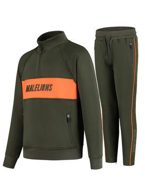 Malelions Junior Junior Sport Uraenium Tracksuit - Army/Orange | PRE-ORDER