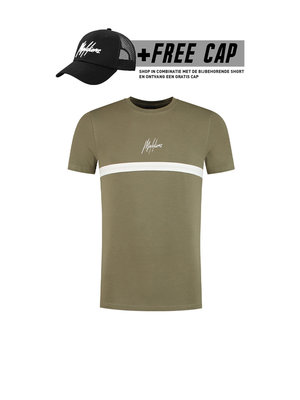 Malelions T-shirt Tonny 2.0  - Army/White (+FREE CAP*)