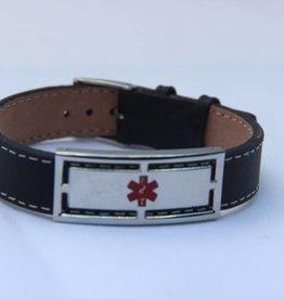Zwart lederen armband Nostalgia