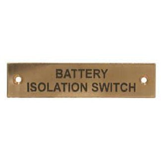 Aquafax Battery Isolation Switch Label