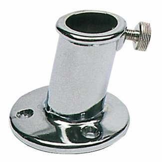 Pirates Cave Value Flag Pole Socket / Holder 25mm Chrome Inclined