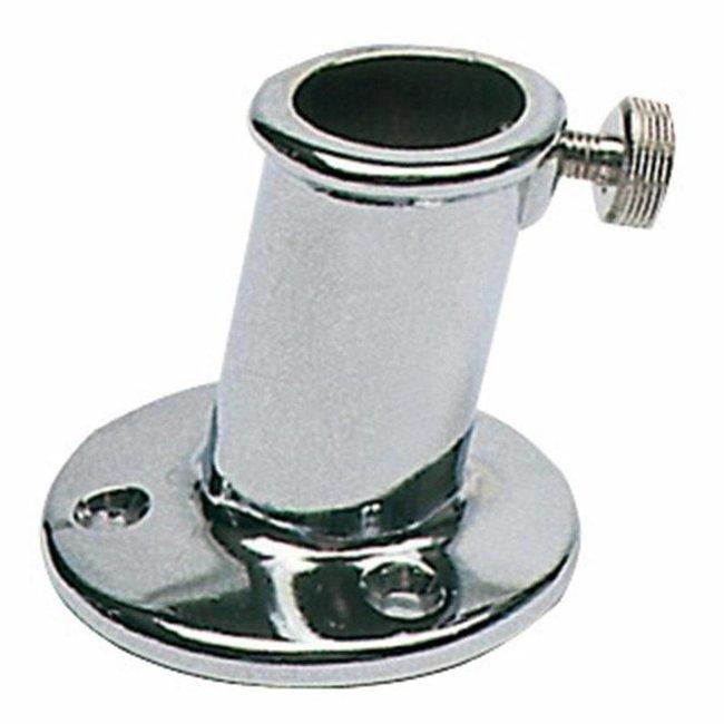 Flag Pole Socket / Holder 25mm Chrome Inclined