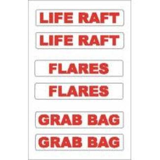 Nauticalia Nauticalia Liferaft/Flares/Grab Bag Label (Small) Sticker