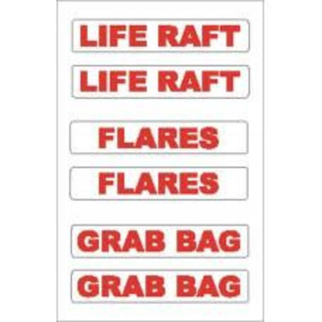 Nauticalia Liferaft/Flares/Grab Bag Label (Small) Sticker