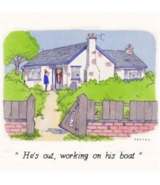 Peyton Greetings Card - Hes Out...Boat