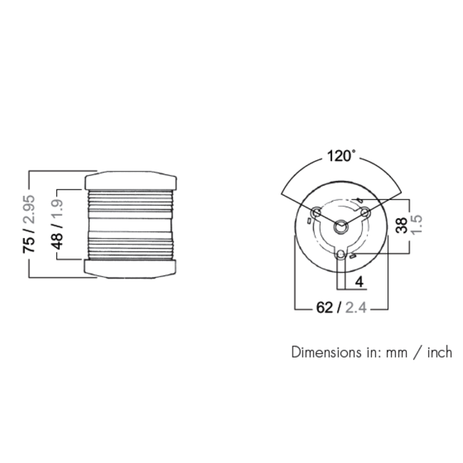 50m Aqua Signal Series 25 All Round Anchor Navigation Light