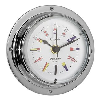 Nauticalia Nauticalia Clipper Tarnish-free Quickfix Flag Code Chrome Clock