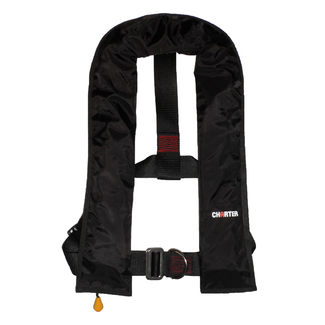 Pirates Cave Value Charter 150N Life Jacket Auto With Harness & Crotch Strap Black