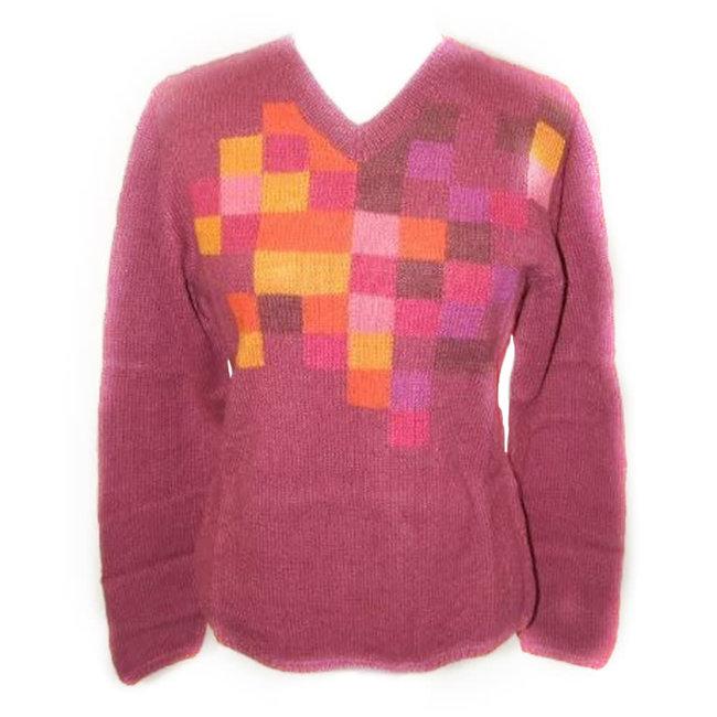 Alpaca Alger Womens V Neck Sweater Raspberry