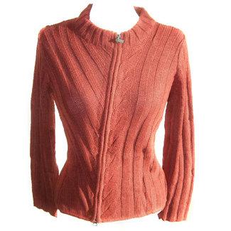 Alpaca Alpaca Azar Womens Zip Cardigan Orange/Red