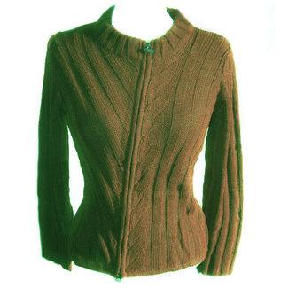 Alpaca Alpaca Azar Womens Zip Cardigan Green