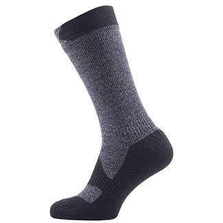 Sealskinz Sealskinz Walking Thin Mid Length Sock Dark Grey/Black