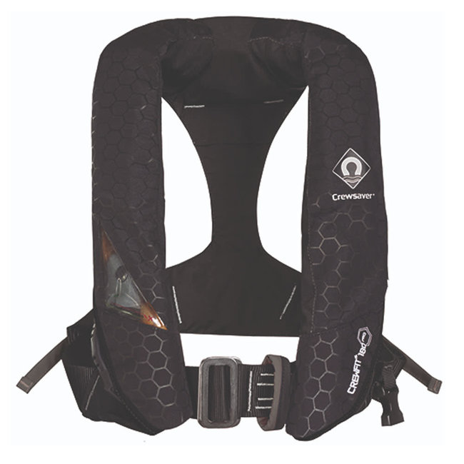 Crewsaver Crewfit+ 180N Pro Automatic Life Jacket with Harness, Light & Hood Black