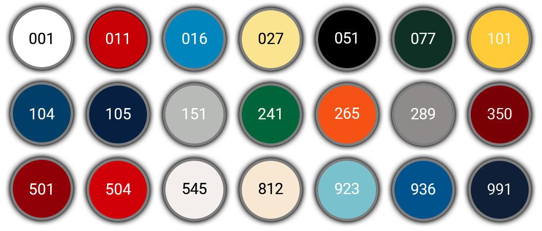 International Toplac Paint Colour Chart