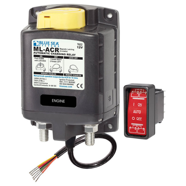 Blue Sea 12V 2 Bank ML-Series Automatic Charging Relay with Manual Control 500A