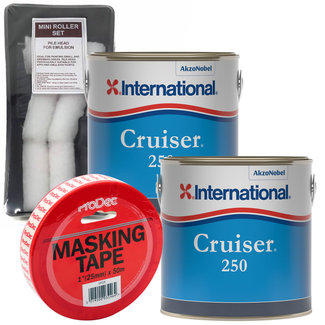 International International Cruiser 250 Antifoul 3L (x2) + FREE Roller Pack & Masking Tape