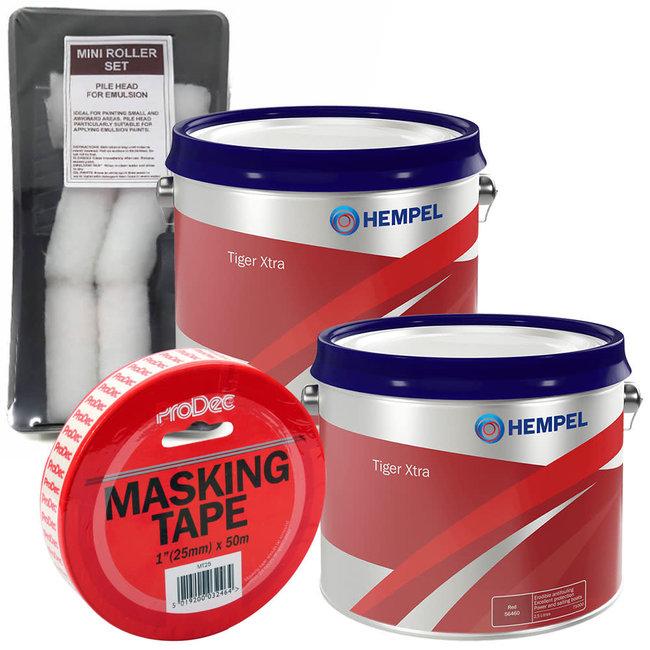 Hempel Tiger Xtra Antifoul 2.5L (x2) + FREE Roller Pack & Masking Tape