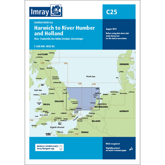 Imray C25 Passage Chart - Southern North Sea - Harwich to River Humber and Holland