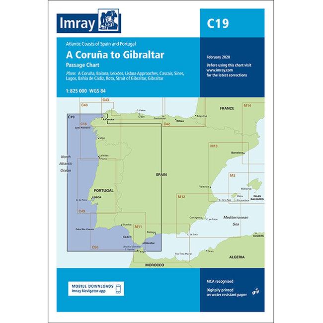 Imray C19 A Coruña  to Gibraltar Passage Charts