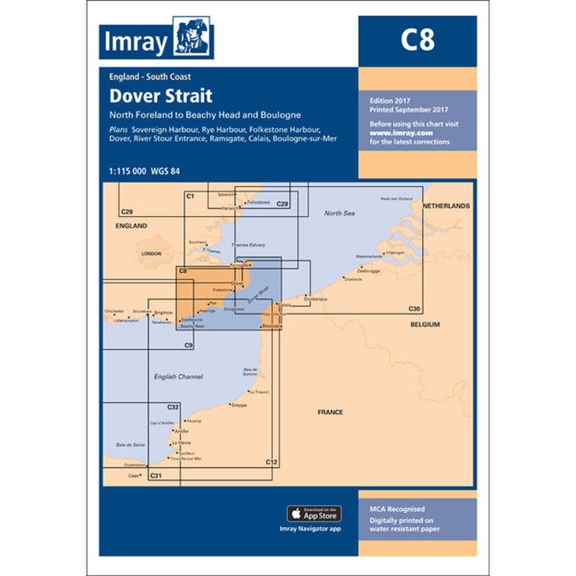 Imray C8 Dover Strait - North Foreland to Beachy Head and Boulogne Charts