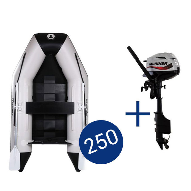 Talamex Aqualine QLS 2.5m Slatted Floor Inflatable Dinghy with Mariner 3.5hp Outboard Engine