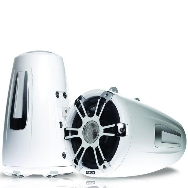 Fusion Signature Series 3 White Wake Tower Marine Speakers w/ CRGBW