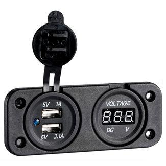 Pirates Cave Value Digital Voltmeter & Dual USB Port 4.8A