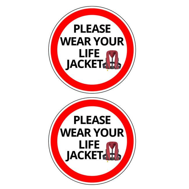 Nauticalia Please Wear Life Jacket Label (Small) Sticker