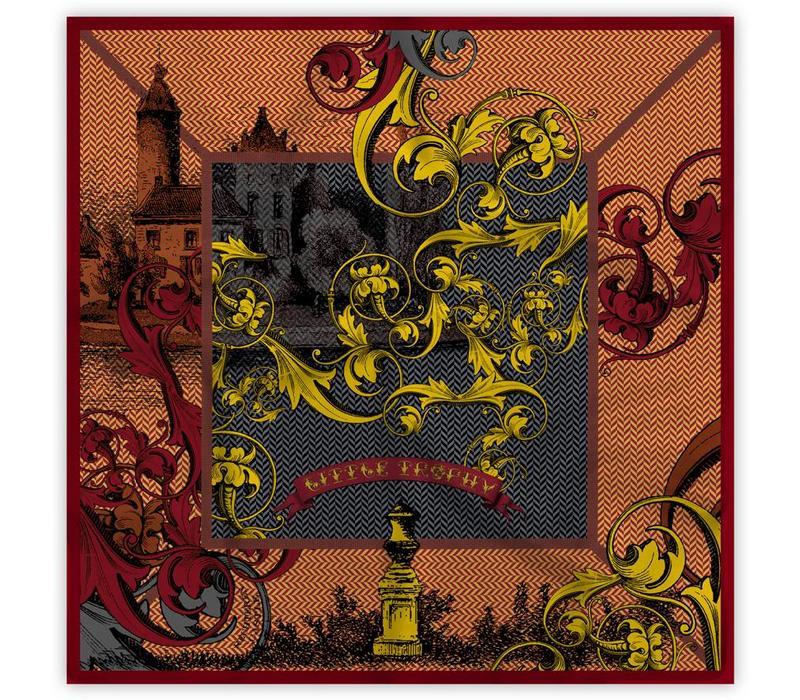 Rechteren Castle Shawl Brown/Yellow 128x128