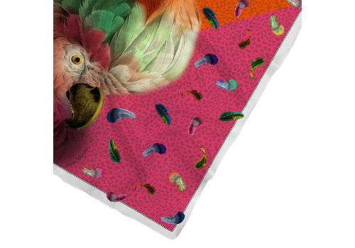 LITTLE TROPHY ZIJDEN FUNKY FEATHER CARRÉ STOLA MULTI 128x128