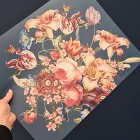 Painted Flowers Placemat 35x45 cm Blauw Kunststof