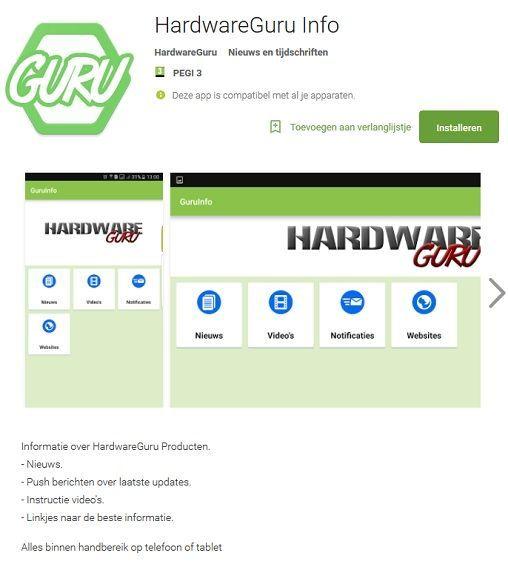 HardwareGuru info app. Google Playstore