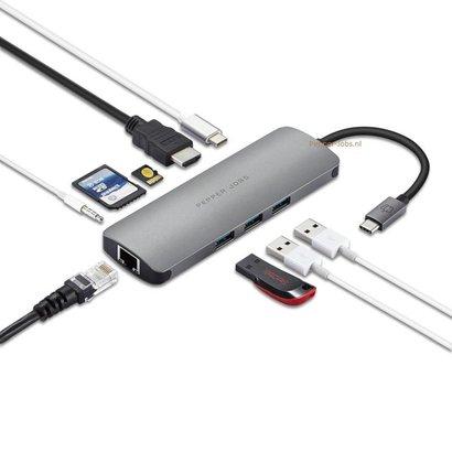 Pepper Jobs Spécifications techniques :  TCH-6 est un hub USB-C 3.1 à USB 3.0 avec Gigabit Ethernet, un port de chargement USB-C, un lecteur de carte SD & TF, une sortie HDMI et un audio USB.