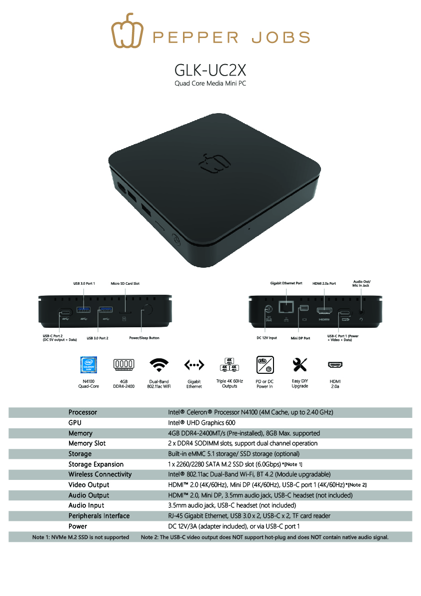 Pepper Jobs GLK-UC2X mini pc