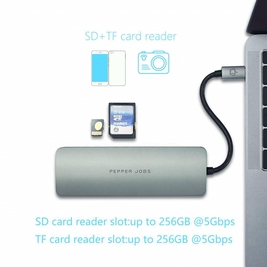 Pepper Jobs TCH-6 Ultra USB-C Digital AV Multiport & Network Hub