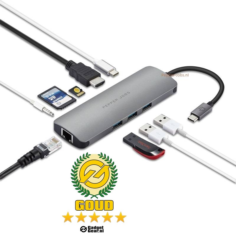 Review: Pepper Jobs TCH-6 Ultra USB-C Digital AV Multipoort & Netwerk Hub
