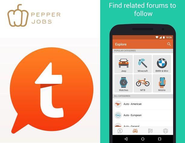 Tapatalk app heeft nu ook het Pepper Jobs forum als link