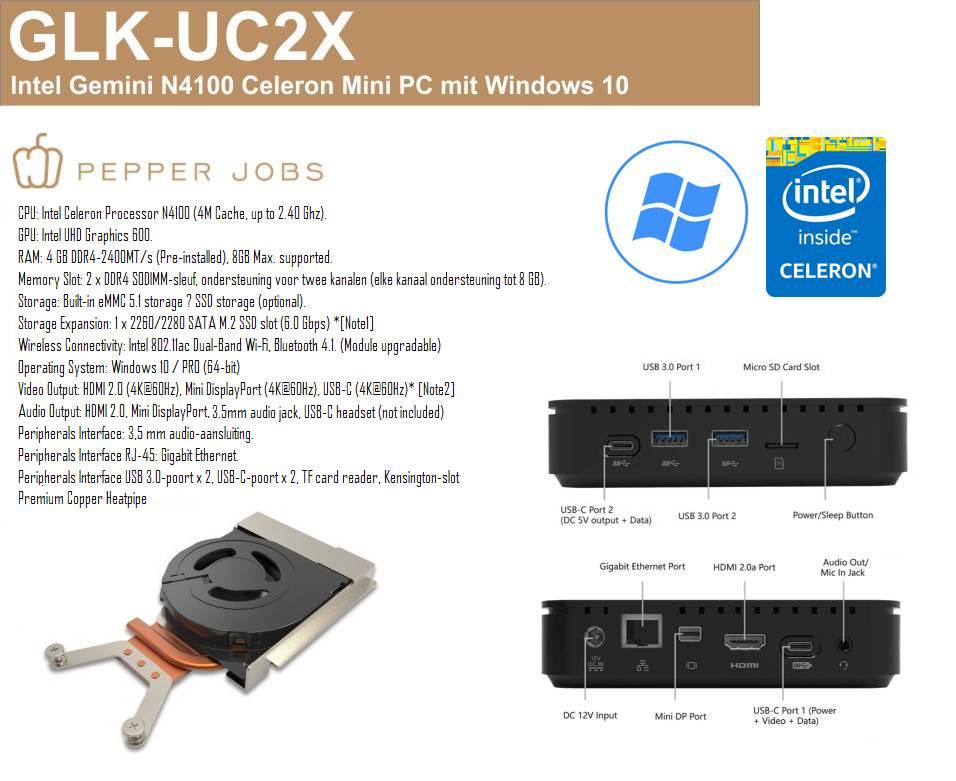 PEPPER JOBS GLK-UC2X 4GB/64GB Intel® Gemini Lake N4100