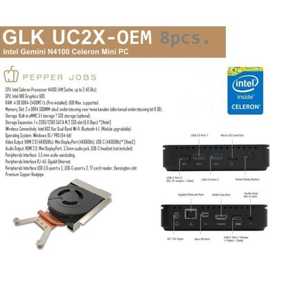 Pepper Jobs  8 stuks GLK-UC2X mini pc - OEM ( geen OS)
